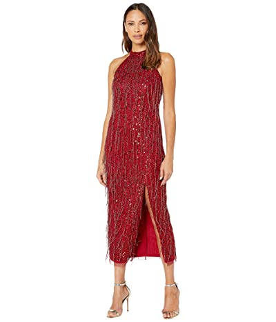 Adrianna Papell Beaded Halter Ballet Midi Dress with Fringe (Cranberry) Women
