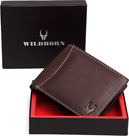 WildHorn Genuine Leather Hand-Crafted Bifold Wallet, Ultra Slim Wallet with 6 Card Slots, Coin pocket and 2 Currency Pockets for ID Card, Credit Card, Business Cards, Cash WildHorn Brown WHW157