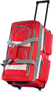 "Olympia Luggage 22"" 8 Pocket Rolling Duffel Bag, Red, One Si"
