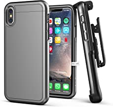 iPhone X/iPhone Xs Belt Case Encased [SlimShield Series] Protective Grip Case with Holster Clip for Apple iPhoneX (2017 Release) Gunmetal Grey