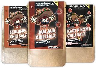 Schlump-ChiliTRIO INFERNALE! - Scharfes Chili Gewürzsalz Set Probierpack schärfstes Chilisalz mit AUAAUA und KÄPTN KOMA Grob S