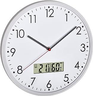 TFA Dostmann Reloj de Pared analógico con termómetro Digital e higrómetro para Control del Clima de la habitación, Cristal...