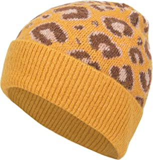 EASTER BARTHE Women Soft Knit Cuff Beanie Hat with Leopard Pattern Warm Winter Knit Beanie Skull Cap Knitting Hat