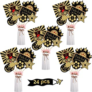 Blulu 24 Pieces Red Carpet Hollywood Centerpiece Sticks for Movie Theme Party-Table Toppers Movie Night Birthday Party Dec...