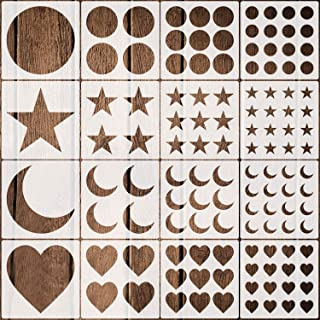 16 Pack Kids Stencils, Reusable Painting Stencils with Star, Circle, Heart, Moon Shape Patterns Stencils for Wall Painting...