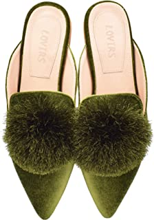 Women's Backless Comfort Slip On Loafers Flats Cute Pom Pom Mule Slippers Casual Shoes