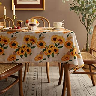 Joyfol Day Sunflower Tablecloth,Orange Floral Table Cloth for Rectangle Tables,Waterproof Resistant Durable Flower Table C...
