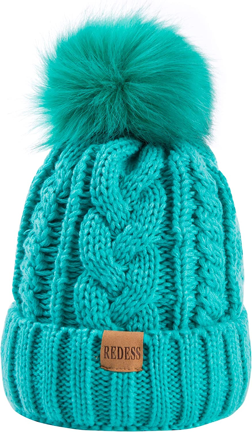 REDESS Women Winter Pompom Beanie Hat with Warm Fleece Lined, Thick Slouchy Snow Knit Skull Ski Cap