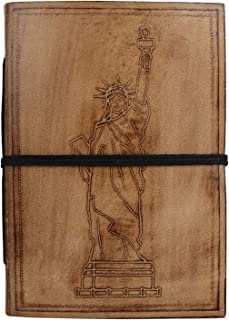 Statue of Liberty Embossed Leather Journal - New York Favorite Leather Notebook - Leather Bound Notes Diary for Men by Rustic Town