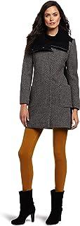 Via Spiga Women's Mini Houndstooth Color-Black Wool Coat