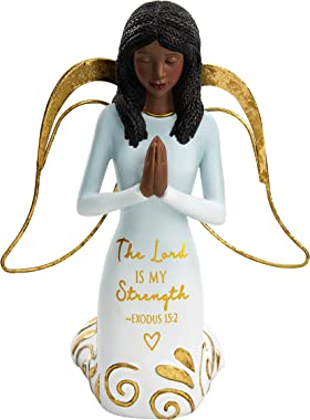 Pavilion Gift Company Lord is My Strength Exodus 15:2-5.25 Inch African American Kneeling Praying Collectible Resin Angel Figurine, Blue