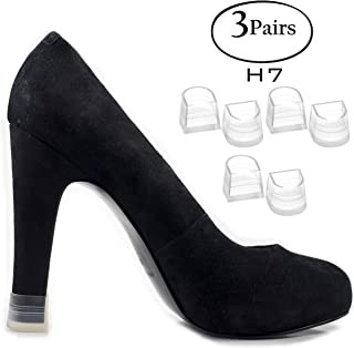Heel Hunks Clear-Glass H7 17mm 3-Pairs Heel Protectors Replacement Tip Caps for High Heel Shoes and Stiletto - Anti-Slip and for Grass - (Pack of 3)