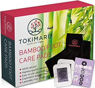 TOKIMARU Premium Foot Pads 30 pack + 1 Pair Spa Gel Heel Socks Foot Pad Covers + E-Book | Improve Sleep and Relaxation | Revitalize and Balance Energy | Pain and Stress Relief | Safe, Organic, Natural