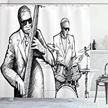 Ambesonne Jazz Music Shower Curtain, Illustration of a Jazz Band Musicians Playing Drum Music Concert Performance, Cloth Fabric Bathroom Decor Set with Hooks, 70 Long, Black White