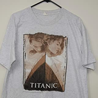 1998 TITANIC Classic Love Story Couple Jack Dawson (Leonardo DiCaprio) & Rose DeWitt Bukater (Kate Winslet) Vintage 90s Movie Promo T-Shirt