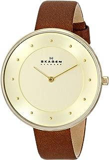 Skagen SKW2138 Ladies Gitte Gold Plated Brown Leather Strap Watch
