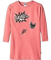 Karl Lagerfeld Kids - Long Sleeve Sweatdress with Printed Graphics (Little Kids)