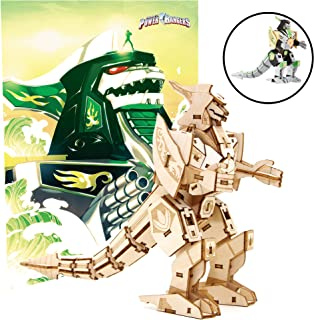 Mighty Morphin Power Rangers Dragonzord Poster and 3D Wood Model Figure Kit - Build, Paint and Collect Your Own Wooden Toy Model - Green Ranger - for Kids and Adults,12+ - 5