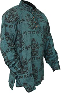SHOPOHOLIC Fashion - Camicia da uomo leggera per festa hippie