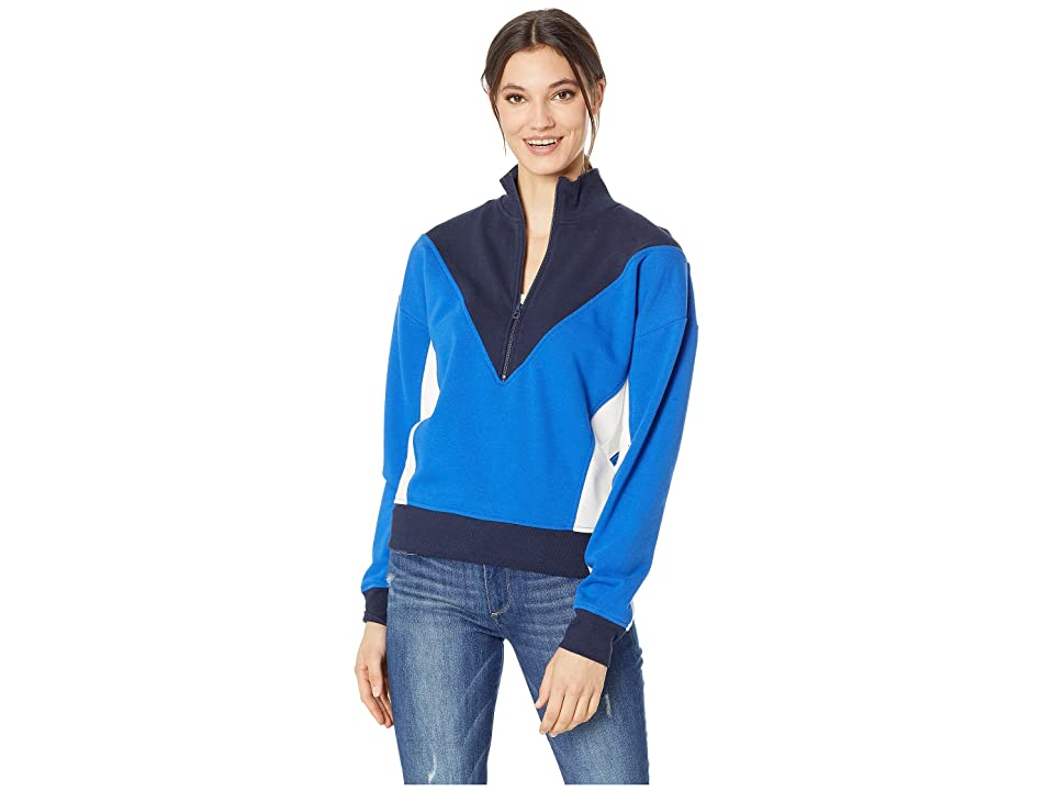 Juicy Couture Track Terry Color Block Zip-Up Pullover (Sea Breeze/Regal/Vanilla) Women