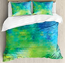 Ambesonne Green and Blue Duvet Cover Set Queen Size, Geometric Abstract Pattern with Triangles Ombre Inspired, Decorative 3 Piece Bedding Set with 2 Pillow Shams, Turquoise Lime Green Yellow