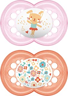MAM Pacifiers, Baby Pacifier 6+ Months, Best Pacifier for Breastfed Babies, 'Pearl' Design Collection, Girl, 2-Count