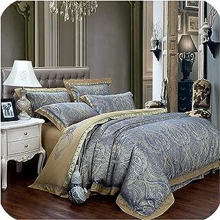 Little-Goldfish Coffee Blue Luxury Silk Jacquard Cotton Bedding Sets/Bedclothes Queen King Size 4/6 Pcs Duvet Cover Bed Linen Sheet Set Pillow,4,Queen 6Pcs