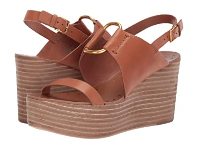 Tory Burch 90 mm Ravello Platform Wedge (Tan) Women