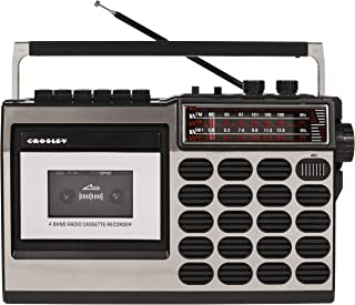 Crosley CT100A Retro Portable Cassette Player with AM/FM Radio and Built-in Microphone, Silver