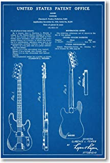 Fender Bass Musical Instrument Patent - NEW Famous Invention Blueprint Poster