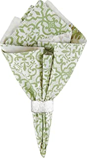 C&F Home Althea Floral Botanical Spring Easter Summer White Green Butterfly Cotton Reversible Napkin 20x20 Set of 6 Napkin Set of 6 Green