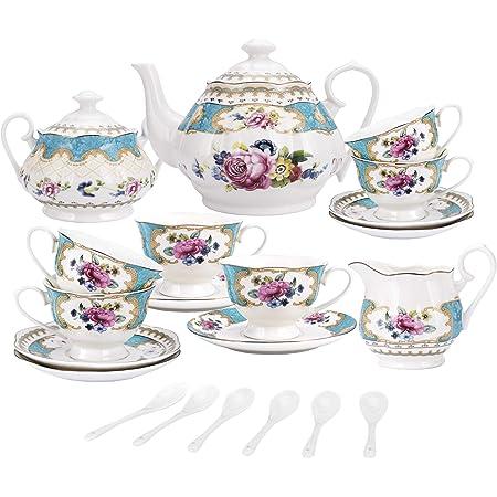 fanquare 15 Pieces European Retro Rose Tea Set,English Flora Tea Set for Adults,Porcelain Coffee Set