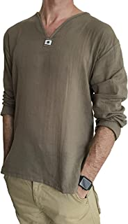 Love Quality Men's Summer T-Shirt 100% Cotton Hippie Shirt V-Neck Beach Yoga Top