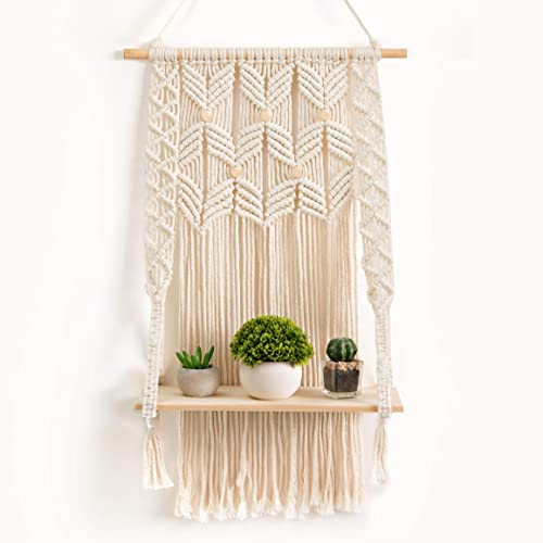OMOMIO Macrame Wall Hanging Shelf - Indoor Boho Wall Decor for Bedroom - Woven Rope Bohemian Shelves - Macrame Shelf Wall Hanging for Plant Hanger or Holder with Crochet Decor 17 Inches by 28 Inches