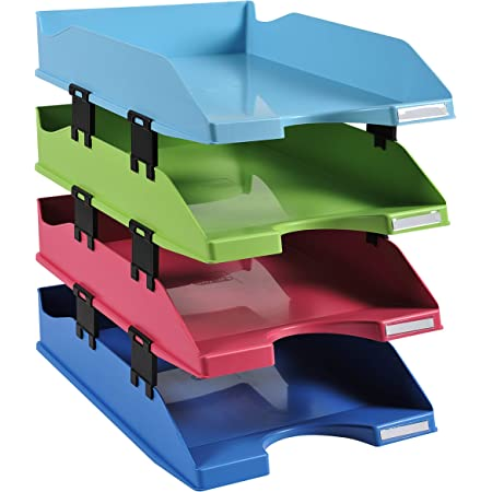 Exacompta - Réf. 1131928SETD - Set de 4 corbeilles à courrier COMBO MIDI climate-neutral - 1928 - dimensions 34,6 x 25,4 x24,3 cm - pour documents au format A4+ - certifié Ange Bleu