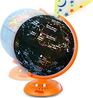 """Little Experimenter Globe for Kids: 3-in-1 World Globe with Illuminated Star Map and Built-in Projector, 8"""""""