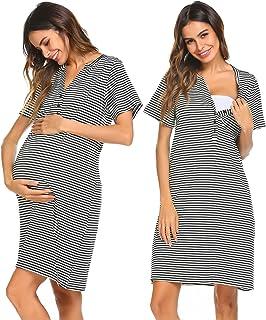 76a44fc01c9 Ekouaer Women Short Sleeve Nightgown Striped Nursing Nightgown Breastfeeding  Sleep Dress