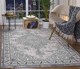 Antep Rugs Florida Collection Distressed Medallion Polypropylene Indoor Area Rug (Grey, 5' x 7')
