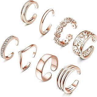 ORAZIO خواتم مفتوحة عند الأصابع للنساء فضية لهجة ذهبية وردية لهجة ذهبية قابلة للتعديل مجموعة خواتم أصابع القدم