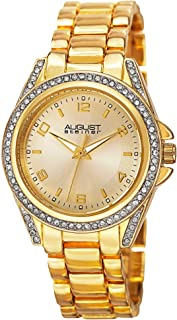 August Steiner Women's Crystal Bezel and Lugs Dress Watch - Sunburst Dial on Yellow Gold Tone Stainless Steel Bracelet - A...