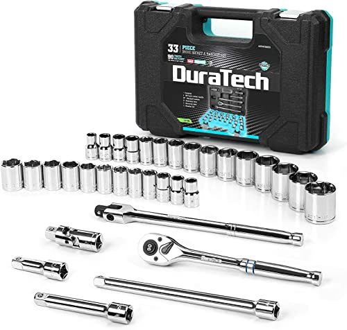 """discount DURATECH 1/2"""" high quality Drive Socket Set, 33-piece, Including Metric/SAE new arrival Sockets, 1/2-Inch Ratchet, Breaker Bar and Socket Adapters online"""