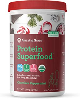 Amazing Grass Protein Superfood: Vegan Protein Powder, All in One Nutrition Shake, Chocolate Peppermint, 10 Servings