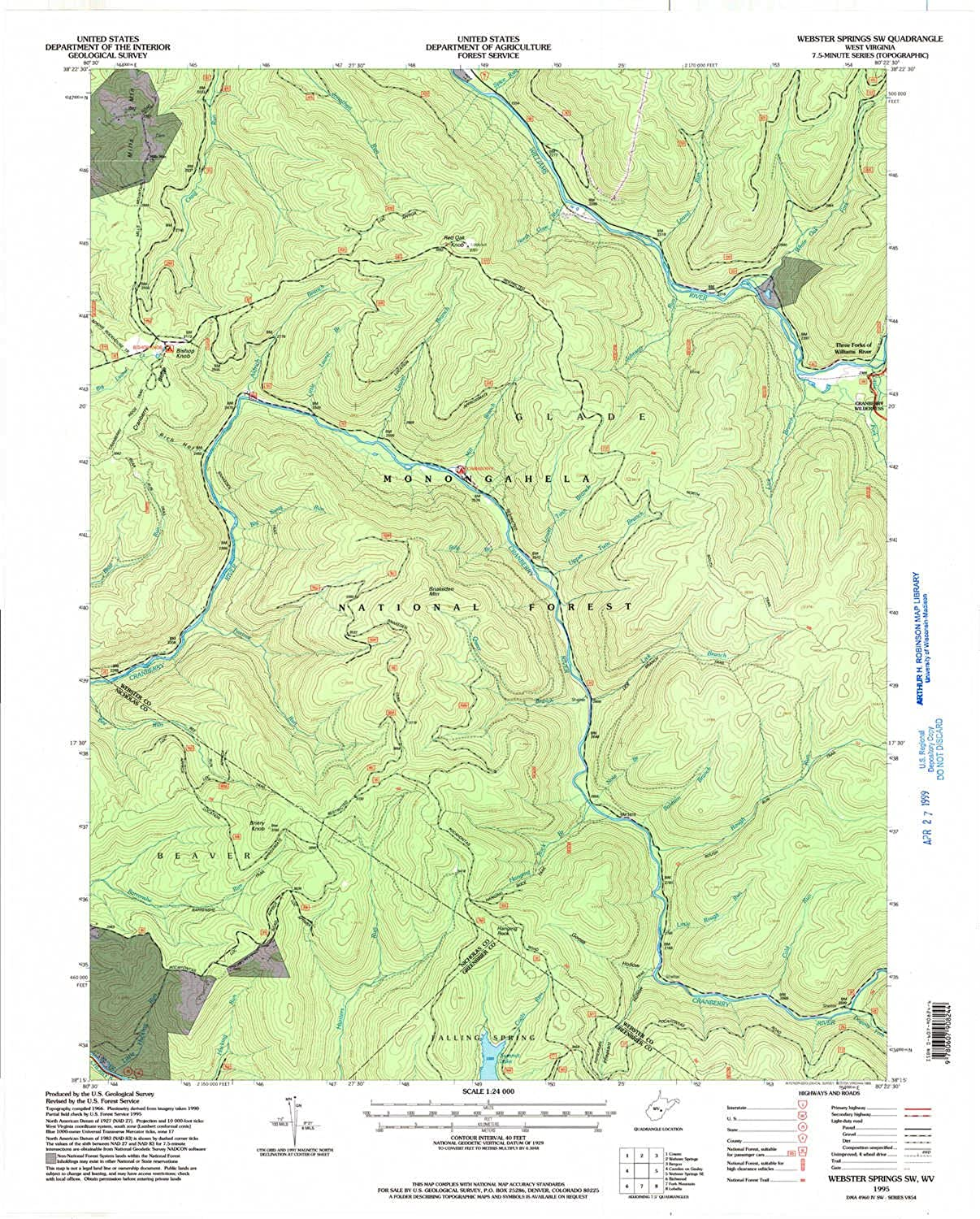 Webster Springs SW WV topo map, 1 24000 Scale, 7.5 X 7.5 Minute, Historical, 1995, Updated 1998, 27.3 x 22 in
