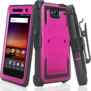 Compatible For ZTE Majesty Pro Case, ZTE Majesty Pro Plus Case, Heavy Duty Belt Clip Holster [Built In Screen Protector] Full Body Coverage Rugged Protection for ZTE Majesty Pro Z799VL, Purple