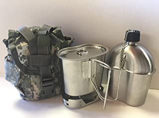 G.I. Style 1 qt. Stainless Steel Canteen with Cup and Vented Lid with NEW STAINLESS STEEL CANTEEN CUP STOVE FOLDABLE, And Used Surplus G.I. Issue Cover Kit.