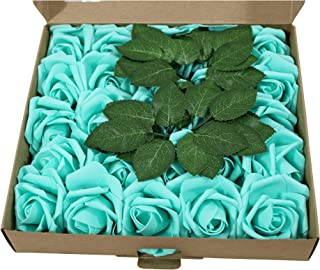 EZFLOWERY Artificial Roses Flowers 25pcs Real Looking Fake Roses w/Stem for DIY Wedding Bouquets Centerpieces Arrangements Bridal Shower Party Home Decorations (Robin's Egg Blue)