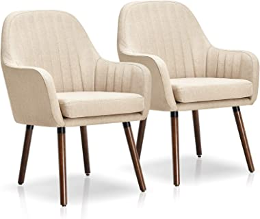 Giantex Set of 2 Fabric Dining Chairs, Accent Upholstered Arm Chair w/Wood Legs, Thick Sponge Seat, Non-Slipping Pad, Modern
