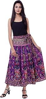HANDICRAFT-PALACE Peacock Mandala Printed Women's Skirts Regular Fit Rapron Free Size Wrap Around (Purple)