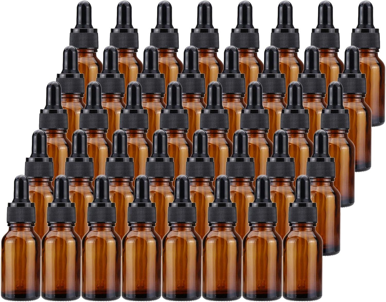 Kingrol 40 Pack Amber Glass Bottles with Glass Eye Dropper, 1/2
