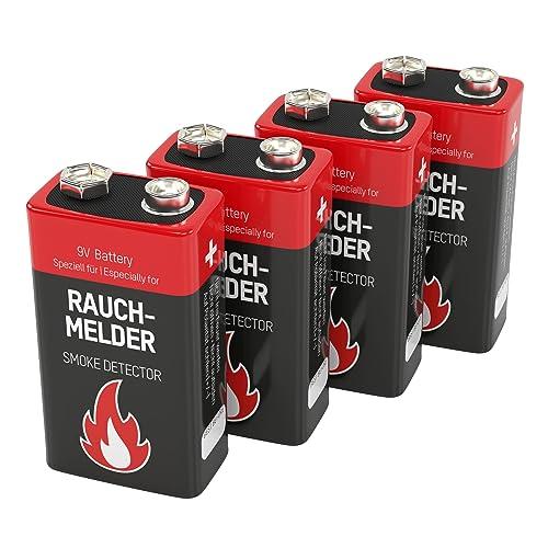 ANSMANN - 1515-0006-590 - format 9V - 4 piles - alcalines -  étecteur de fumée, 7 ans de duré de stockage / excellentes performances / idéal pour les détecteurs d'incendie, les systèmes d'alarme et les appareils médicaux